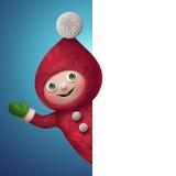 caractère de jouet d'elfe de Noël 3d avec la page vide Image libre de droits