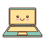 Caractère de kawaii d'ordinateur portable Photographie stock