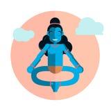 Caractère de Krishna de Dieu se reposant en position de lotus Illustration plate de bande dessinée de vecteur Images stock
