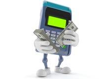 Caractère de lecteur de carte de crédit avec l'argent illustration de vecteur