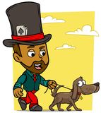 Caractère de marche de garçon de brune de bande dessinée avec le chien illustration de vecteur