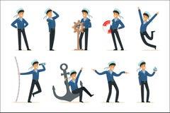 Caractère de marin faisant son ensemble du travail Marin dans différentes illustrations de vecteur de bande dessinée de situation illustration stock