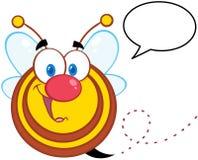Caractère de mascotte de bande dessinée d'abeille avec la bulle de la parole Photos libres de droits