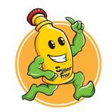 Caractère de mascotte de bande dessinée de bouteille charnu Photo libre de droits