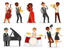 Caractère de musicien de vecteur de jazz jouant sur les tambours de saxophone d'instruments de musique et l'ensemble de musique d illustration libre de droits
