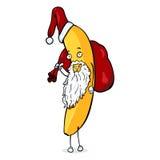 Caractère de Noël de bande dessinée de vecteur - Santa Banana Image libre de droits