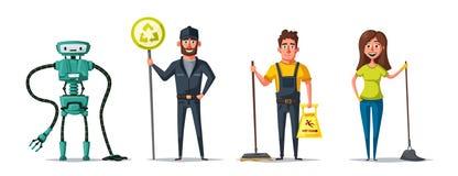 Caractère de personnel de nettoyage avec l'équipement Illustration de vecteur de dessin animé illustration stock
