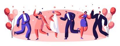 Caractère de personnes de célébration de partie de danse illustration stock