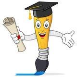 Caractère de pinceau avec le chapeau d'obtention du diplôme Photographie stock libre de droits