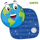Caractère de planète de la terre de bande dessinée illustration stock