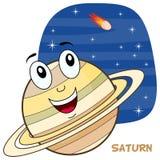 Caractère de planète de Saturn de bande dessinée Images libres de droits