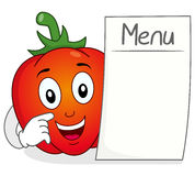 Caractère de poivron rouge avec le menu vide Image stock