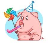 Caractère de porc soufflant dans le sifflement Photos stock