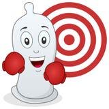 Caractère de préservatif avec des gants de boxe Images libres de droits