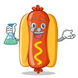 Caractère de professeur Hot Dog Cartoon Photo stock