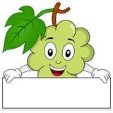 Caractère de raisins blancs avec la bannière Images stock