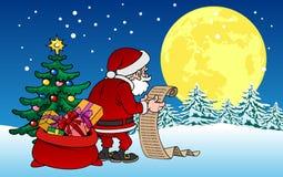 Caractère de Santa Claus de bande dessinée avec des cadeaux sur le fond de Noël Images stock
