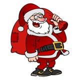 Caractère de Santa Claus de bande dessinée avec un sac d'isolement Photo stock