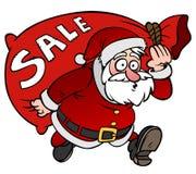 Caractère de Santa Claus de bande dessinée avec une vente de sac d'isolement Photographie stock