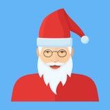 Caractère de Santa Claus Icône plate de visage illustration stock