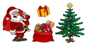 Caractère de Santa Claus, un sac avec des cadeaux et isola d'arbre de Noël Photos libres de droits