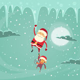 Caractère de Santa Clause Christmas Monkey Cartoon Illustration de Vecteur