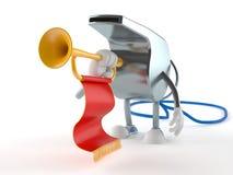 Caractère de sifflement jouant la trompette illustration libre de droits