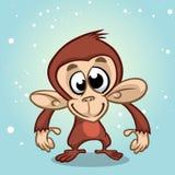 Caractère de singe de bande dessinée Mascotte d'an neuf photos stock
