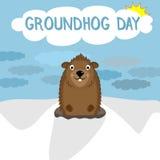 Caractère de sourire de marmotte d'Amérique sur le fond d'hiver heureux Image libre de droits