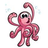 Caractère de sourire heureux de mascotte de poulpe de bébé rose mignon de bande dessinée illustration libre de droits