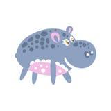 Caractère de sourire mignon d'hippopotame de bande dessinée posant l'illustration de vecteur Photographie stock