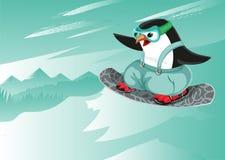 Caractère de sport de pingouin de caractère de vecteur de bande dessinée de surf des neiges illustration libre de droits