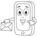 Caractère de téléphone portable de coloration avec le courrier Photographie stock