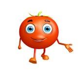Caractère de tomate avec la pose de présentation Photographie stock