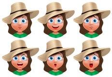 Caractère de vecteur d'avatar de fille Ensemble de portrait de visage de jeune fille illustration stock