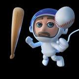 caractère drôle d'astronaute d'astronaute de la bande dessinée 3d avec la batte de baseball et boule dans l'espace illustration stock