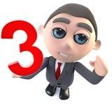 Caractère drôle d'homme d'affaires de la bande dessinée 3d tenant le numéro trois 3 illustration libre de droits