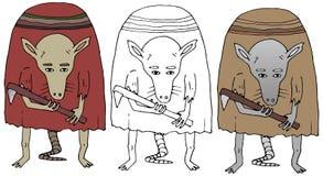 Caractère drôle d'isolat drôle tiré par la main de couleur de rat de monstre de griffonnage de bande dessinée illustration stock
