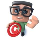 caractère drôle de ballot d'ordinateur de la bande dessinée 3d tenant un symbole de copyright illustration stock