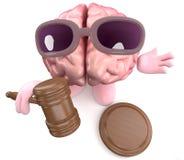Caractère drôle de cerveau de la bande dessinée 3d tenant une vente aux enchères