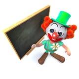 caractère drôle de clown de la bande dessinée 3d se tenant à un tableau noir Photo stock