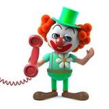 caractère drôle de clown de la bande dessinée 3d tenant un combiné de téléphone Photos libres de droits