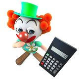 caractère drôle de clown de la bande dessinée 3d tenant une calculatrice numérique Photo stock
