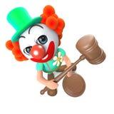 caractère drôle de clown de la bande dessinée 3d tenant une vente aux enchères Images stock