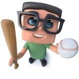 caractère drôle de pirate informatique de connaisseur de ballot de la bande dessinée 3d tenant une batte de baseball et une boule Image stock