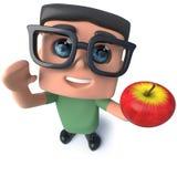 caractère drôle de pirate informatique de connaisseur de ballot de la bande dessinée 3d tenant une pomme Photos stock