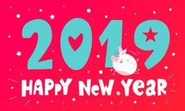 Caractère drôle de vol mignon porcin An neuf heureux Symbole chinois de porc des 2019 ans Salutation du chèque-cadeau de fête Vec illustration de vecteur