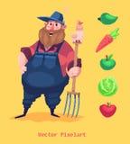Caractère drôle d'agriculteur de pixel Sur le fond jaune Illustration de vecteur Photos stock