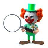 caractère drôle de clown de la bande dessinée 3d utilisant une loupe Image libre de droits