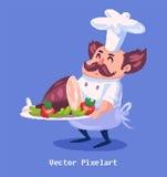 Caractère drôle de cuisinier de pixel sur le fond violet Illustration de vecteur Image libre de droits